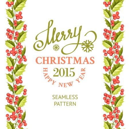 Merry christmas card with line border of misletoe wreath. Vector illustration. Vector