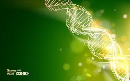 DNA-keten over abstracte blauwe achtergrond. Vector illustratie. Stock Illustratie