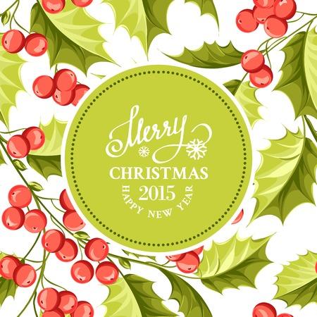 Holiday invitation card with mistletoe floral border. Vector illustration.