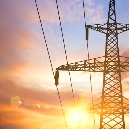 electricity pylon: Electrical pylon and wires over sunset background. Vector illustration.