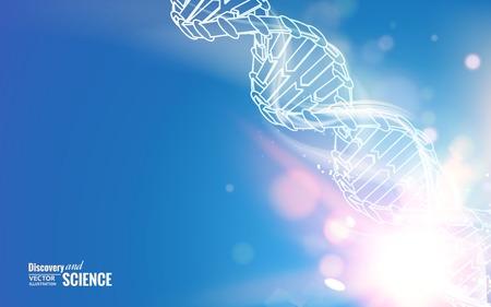 adn humano: Cadena de ADN sobre fondo abstracto azul. Ilustración del vector.