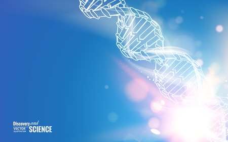 DNA chain over abstract blue background. Vector illustration.