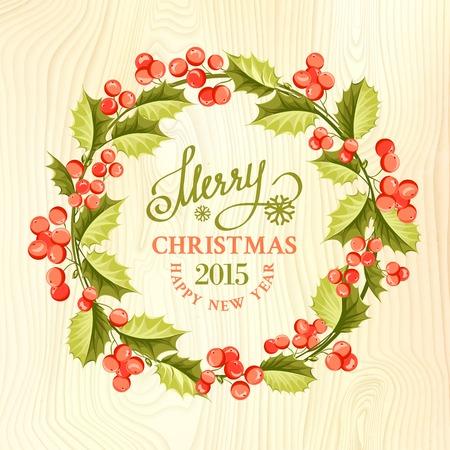 Christmas mistletoe wreath over wood texture. Vector illustration. Vector
