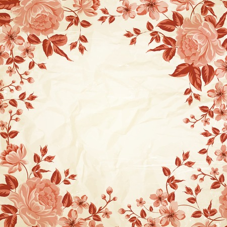Vintage flower frame with peonies over sepia paper bachground. Vector illustration. Vector