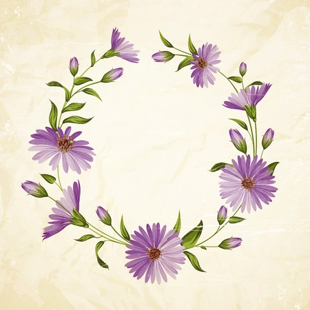 camomiles macro: Vintage card template with chrysanthemum flower head. Vector illustration. Illustration