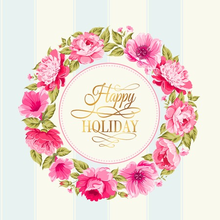 chik: Border of flowers in vintage style with happy holiday text. Vector illustration.