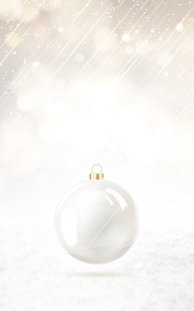 pearly: Toy ball for holiday fir-tree over vertical snow background. Vector illustration.