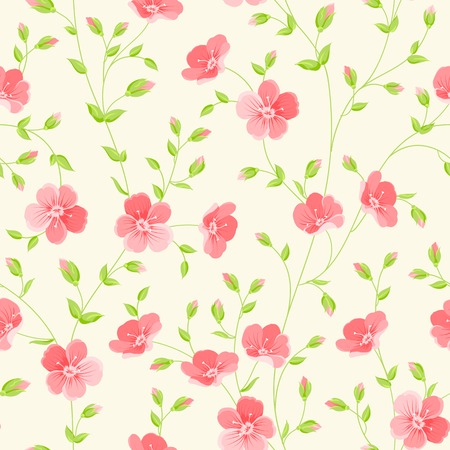 cute illustration: Floral seamless pattern on white background. Vector illustration.