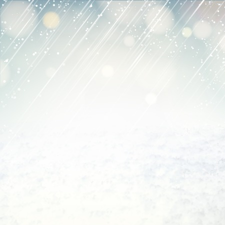 snow field: Snow environment background with blurred sky and snow. Vector illustration.