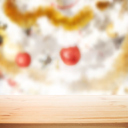 Christmas holiday background with wooden table for your design. Vector illustration. Vector