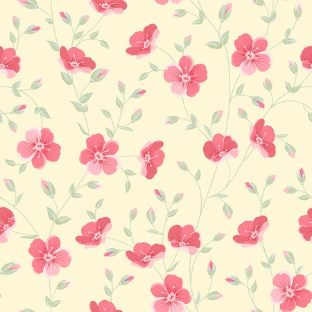 Floral seamless pattern on white background. Vector illustration. Vector