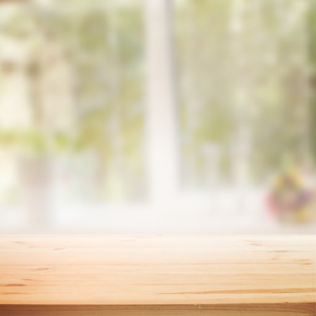 window display: Perspective background with wooden table for your design. Vector illustration.