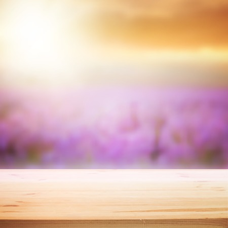 lavender flower: Perspective background with wooden table for your design. Vector illustration.