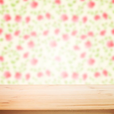 Floral blured background with wooden table for your design. Vector illustration. Vector