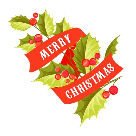Christmas mistletoe card with ribbon text. Vector illustration. Vector