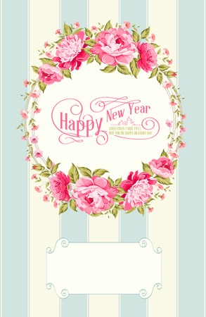 Border of flowers in vintage style with happy holiday text. Vector illustration.