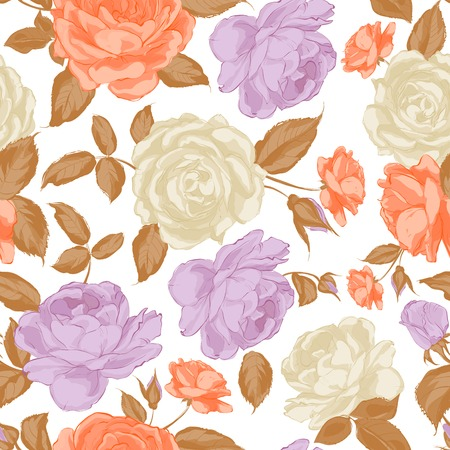 Seamless floral pattern with Rose in sepia colors. Vector illustration. Vector