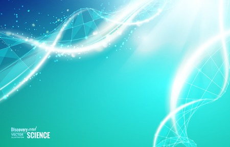 Science template for your card, wallpaper or banner with a DNA molecules of poligons. Vector illustration. Vettoriali