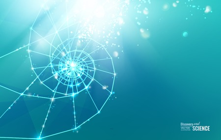 Abstract science design with poligons and triangles. Vector illustration.