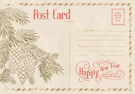 postal card: Backdrop of postal card for happy new year holiday. Vector illustration.