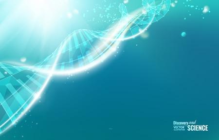 Plantilla de la Ciencia para la tarjeta, fondo de pantalla o pancarta con una molécula de ADN de polígonos. Ilustración del vector. Ilustración de vector