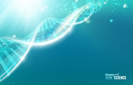 Science template for your card, wallpaper or banner with a DNA molecules of poligons. Vector illustration. Stock Illustratie
