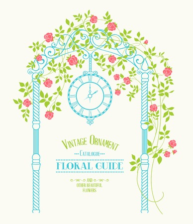 Vitage label for floral guide with wedding arch and roses over gray background. Vector illustration.