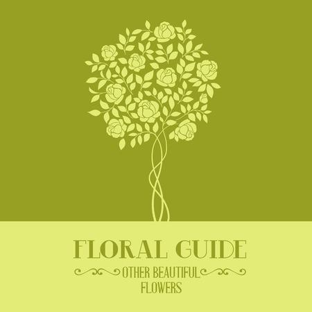 rose garden: Rose garden tree over color label for floral guide book. Vector illustration.