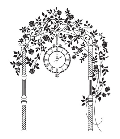 Wedding arch with roses and leaves isolated over white. Vector illustration.