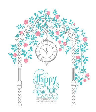 chik: Happy new year text card with rose arch and leaves isolated over white background. Vector illustration.