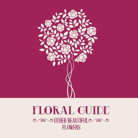 chik: Rose garden tree over color label for floral guide book. Vector illustration.