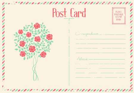 chik: Rose bush postcard.