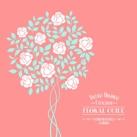 Rose garden tree over floral ornament label for floral guide book. Vector illustration. Vector