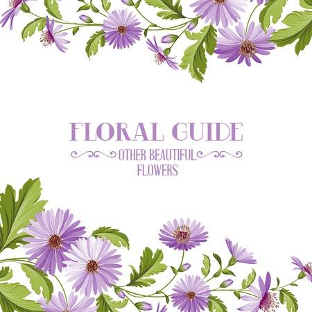 Flower background with violet flowers for yor wedding design in provence style. Vector illustration. Illustration