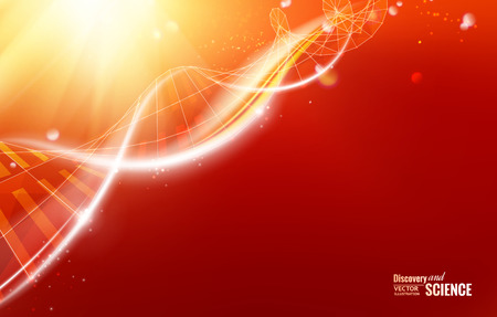 Plantilla Ciencia para su tarjeta, papel pintado rojo o banner con moléculas de ADN de los polígonos. Ilustración del vector. Ilustración de vector