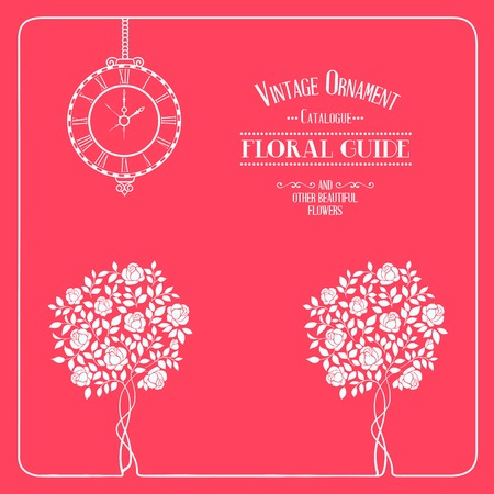simbol: Vintage label, floral guide with roses, clock and text place. Vector illustration. Illustration