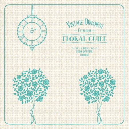 rosy: Vintage label, floral guide with roses, clock and text place. Vector illustration. Illustration