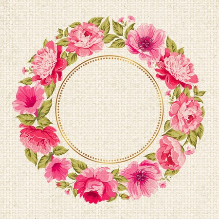 Border of flowers in vintage style with circle frame. Vector illustration.
