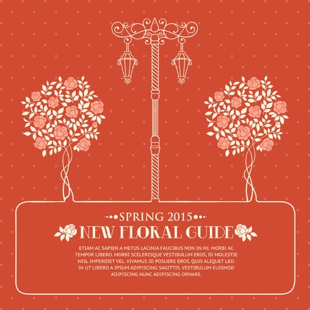 chik: Roses trees and street light over red backgrond with template text. Vector illustration.