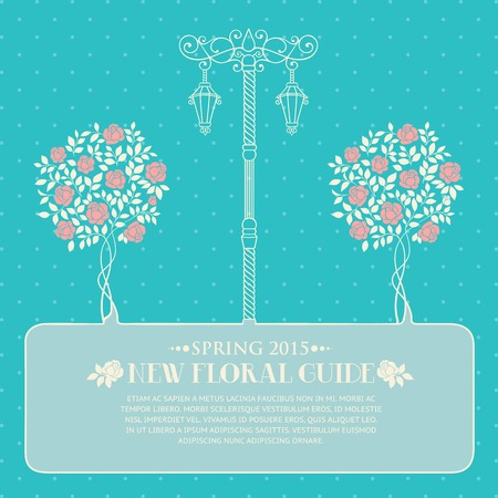 chik: Roses trees and street light over blue backgrond with template text. Vector illustration.