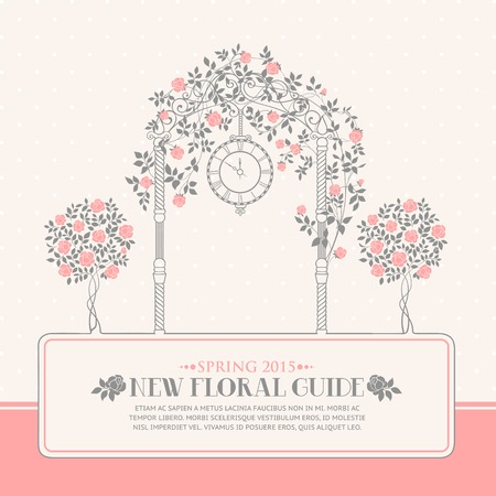 Rose garden with trees and arch flowers, text template plase in the bottom. Vector illustration.