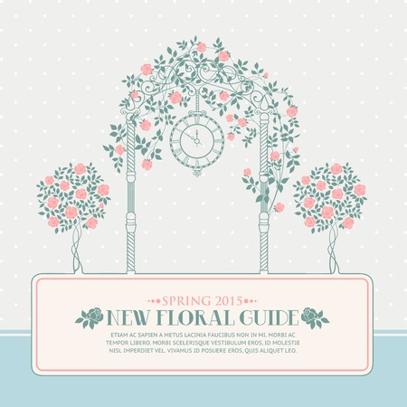rosary: Rose garden with trees and arch flowers, text template plase in the bottom. Vector illustration.