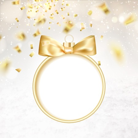 hristmas: Golden hristmas ball on white background with blurred sparks and confetti. Vector illustration.