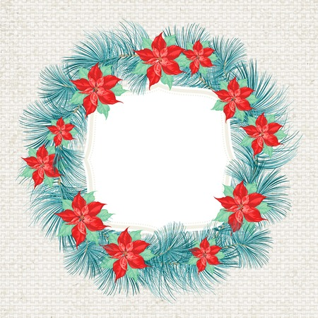 elements of nature: Christmas wreath of christmas star, holiday tree. Vector illustration.
