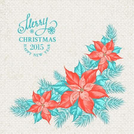 fabric samples: Christmas mistletoe garland over textile pattern. Vector illustration.