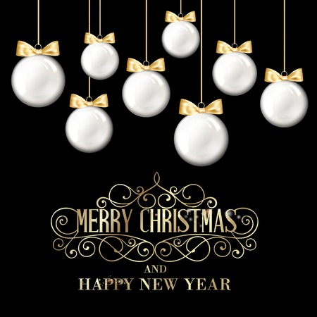 hristmas: Golden hristmas balls on white background with blurred sparks and confetti. Vector illustration.