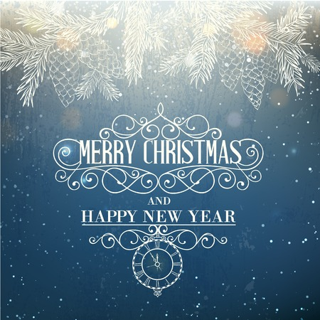 spruse: Merry christmas card with spruce branches, glowing snowflakes and greeting text. Vector illustration, Illustration