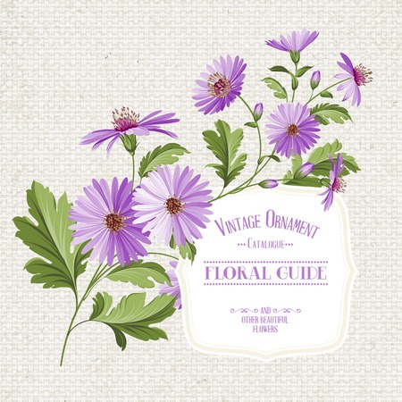 Wildflower print over linen fabric texture. Vector illustration.