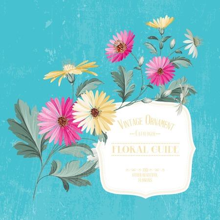 chamomel: Vintage flower card print . Vector illustration. Illustration