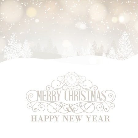 spruse: Merry Christmas greeting text with snow hills and trees. Vector illustration. Illustration